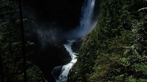 nature waterfall between mountain waterfall