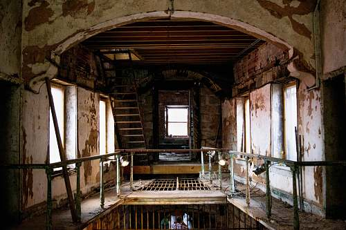 banister brown abandoned building interior eastern state penitentiary