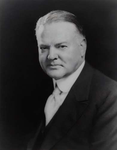 black-and-white President Herbert Hoover face