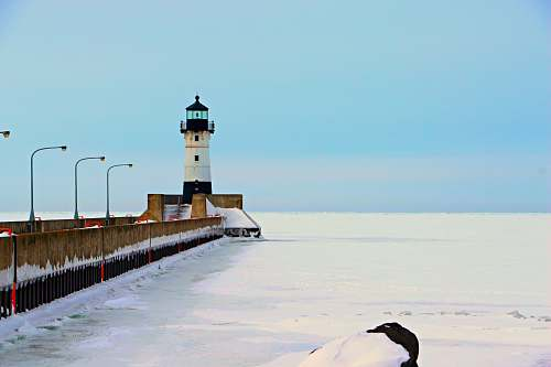 architecture snow covered lighthouse tower