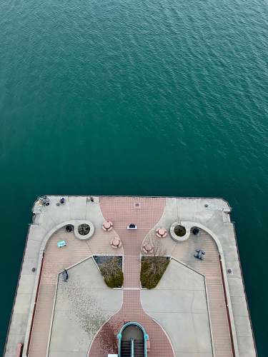 outdoors aerial view of deck on body of water water