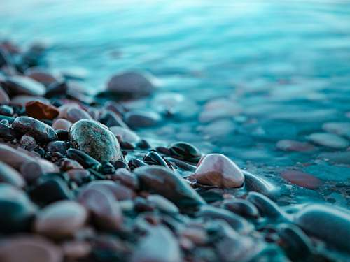 pebble brown and black stones at the seashore petoskey state park