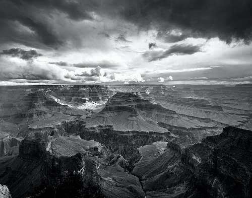 photo black-and-white landscape photo of grand canyon storm free for commercial use images