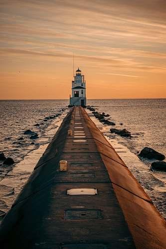 coast white lighthouse ocean