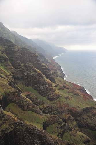 cliff birds eye view of forest covered mountains kauai