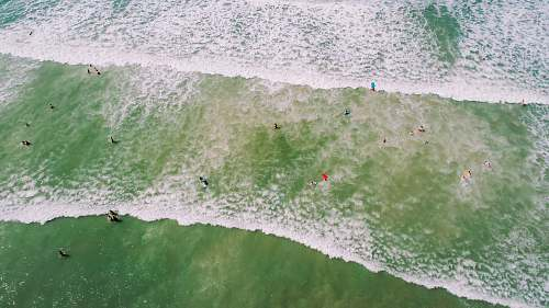 cocoa beach aerial photo of people on seashore with waves and bubbles at daytime drone view