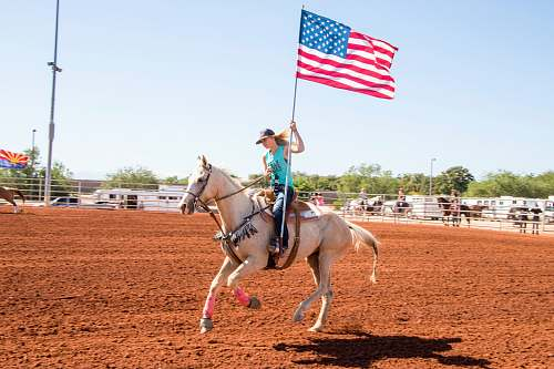 rodeo woman riding horse holding flag horse