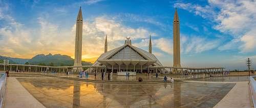 building 4-post museum under golden hour mosque
