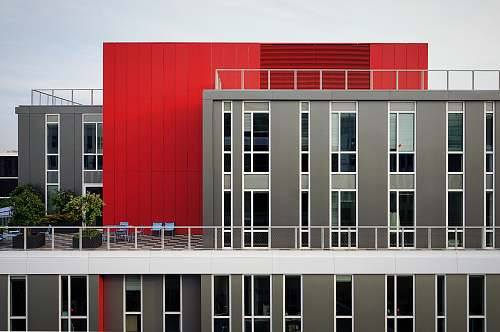 modern aerial photography of red and gray building red