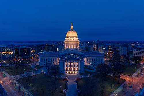 building aerial photography of US Capitol during nighttime dome