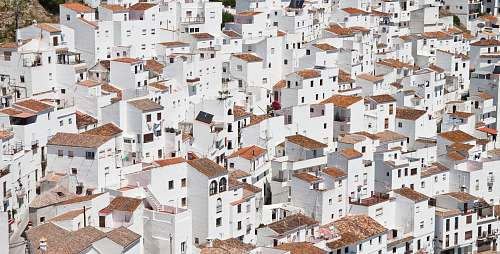 house aerial photography of white houses spain