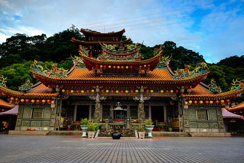 building architectural photography of brown house temple