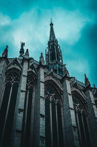 building architectural photography of gray cathedral spire