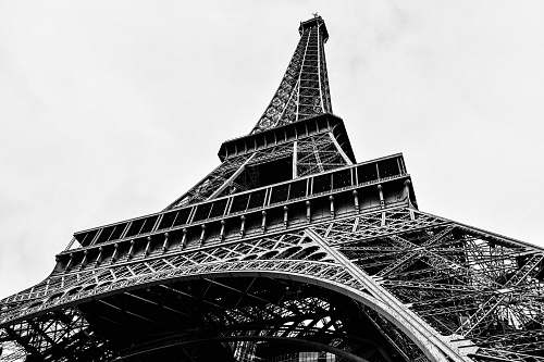 building architectural photography of Paris Eiffel Tower black-and-white