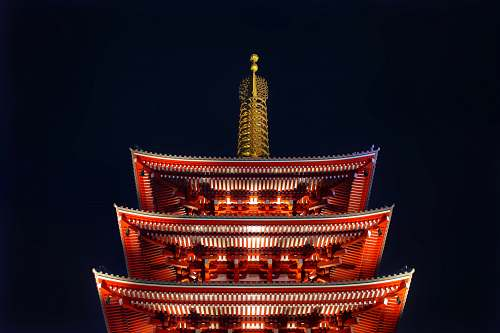 building Asakusa temple in Japan during night time pagoda