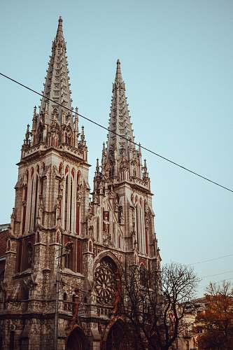 building beige and gray church spire