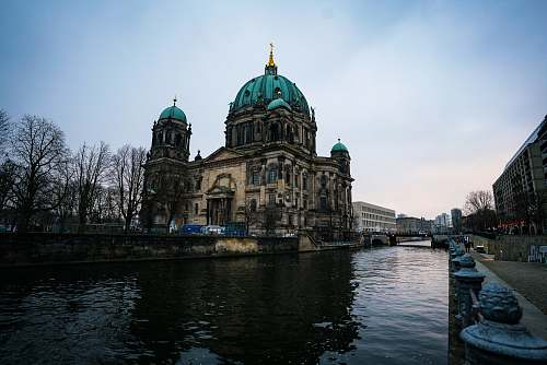 building Berlin Cathedral near river dome