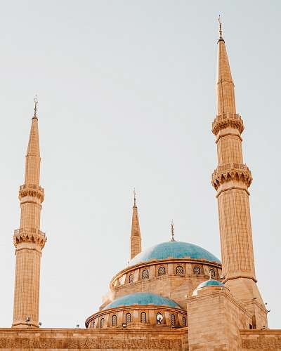 building blue and brown dome mosque dome