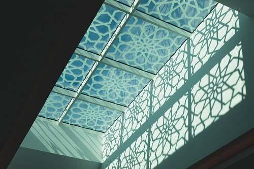building blue concrete building window