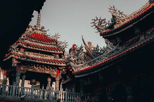 building brown and red Chinese castle temple