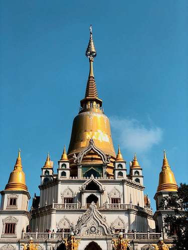 building brown and white temple spire