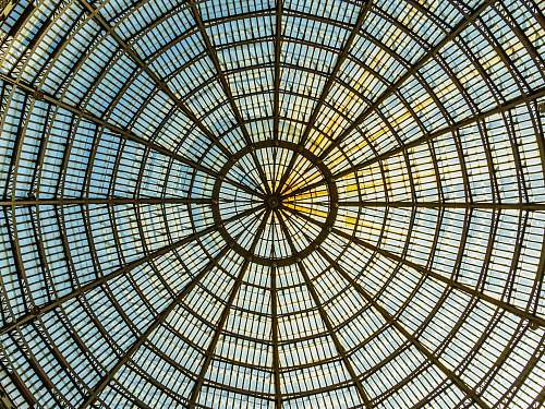 window brown metal framed glass dome ceiling building