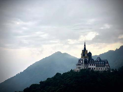 building castle on top of tree covered mountain spire