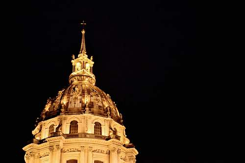 building cathedral top at night dome