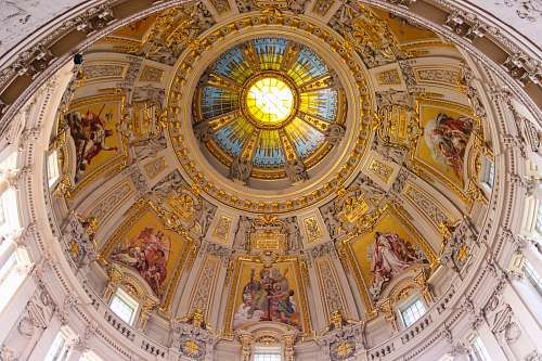 photo building church ceiling with paintings apse free for commercial use images