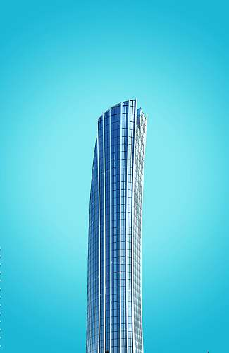 building curtain-wall high-rise building under blue sky urban