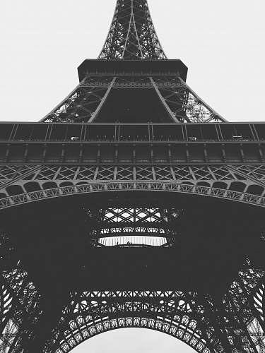 black-and-white Eiffel Tower of Paris grayscale photo paris