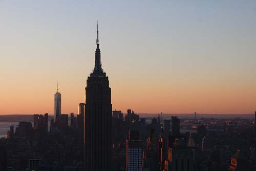 building Empire State Building, New York during golden hour tower