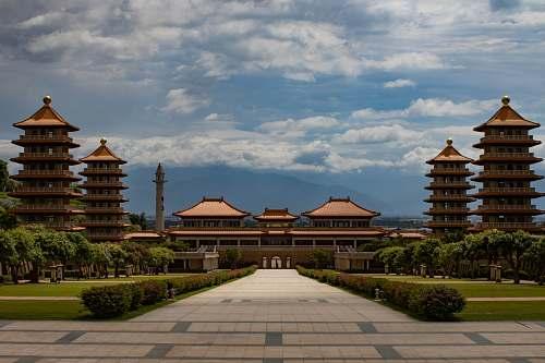 building garden outside temple under blue sky shrine