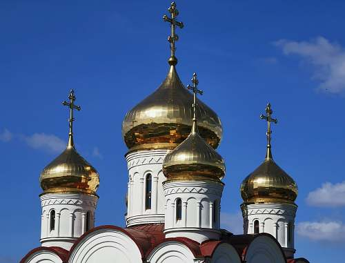 building gold and white church photo dome