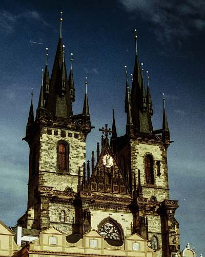 spire gray and black cathedral tower