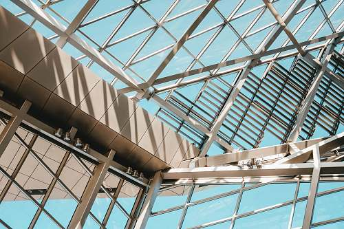 building gray metal and glass ceiling window
