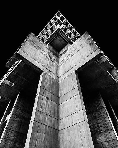 building grayscale photo of concrete building black-and-white