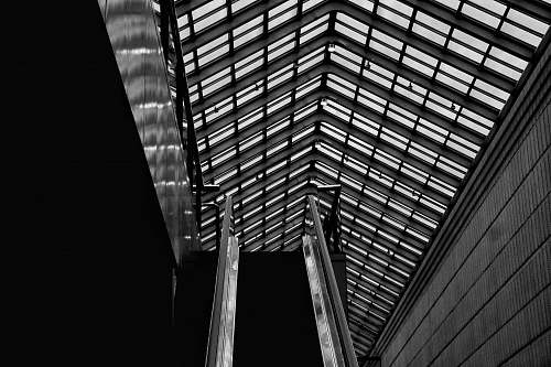 building grayscale photography of ceiling black-and-white