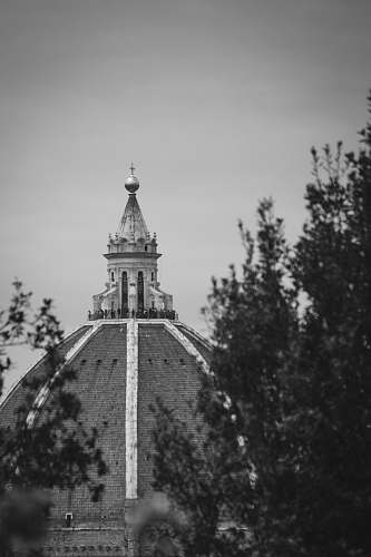 building grayscale photography of dome church black-and-white
