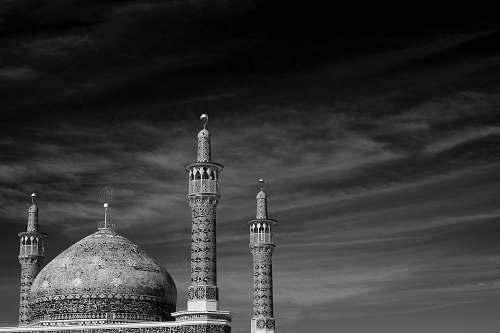 building grayscale photography of dome mosque black-and-white