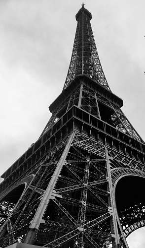 building grayscale photography of Eiffel tower black-and-white