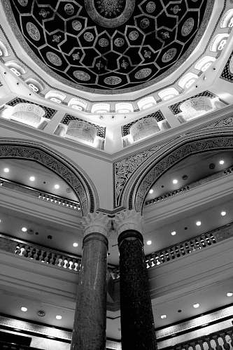building grayscale photography of inside building view black-and-white