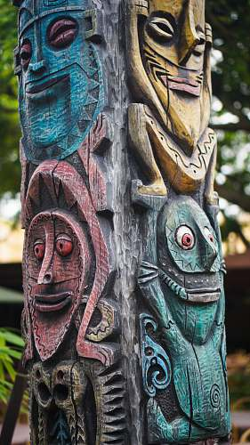 building green, red ,and blue totem statue symbol
