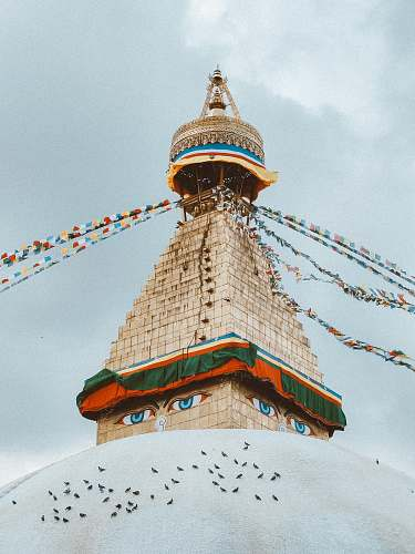 building high-rise tower with buntings temple