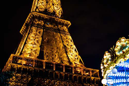 building lighted Eiffel Tower tower