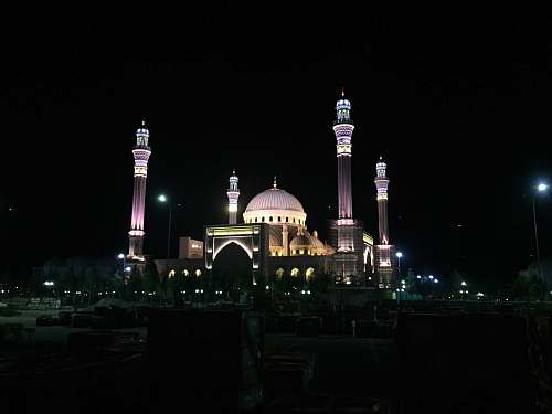 dome lighted mosque at night building
