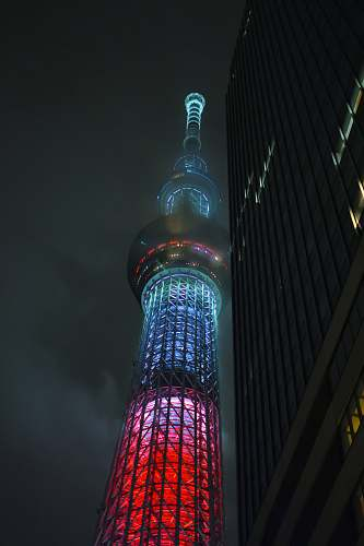 building lighted tower tower