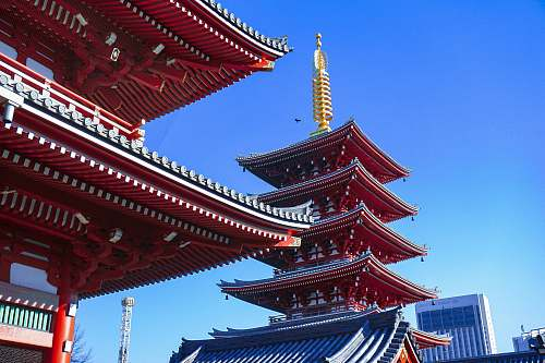 building low angle photo of red temple pagoda