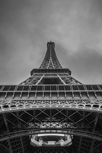tower low angle photo of the Eiffel tower black-and-white