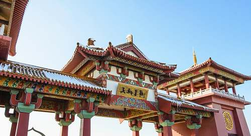 building low angle photography of temple gate with Kanji text worship